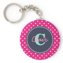 Hot Pink and Navy, Initial, and Name Keychain