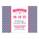 Hot Pink and Navy Modern Chevron Save the Date Postcard