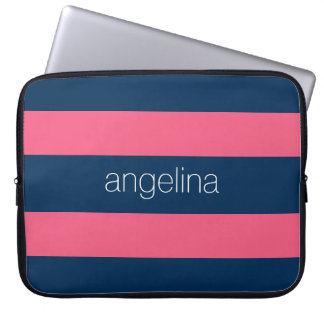 Hot Pink and Navy Modern Rugby Stripes with Name Laptop Sleeves