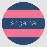 Hot Pink and Navy Modern Rugby Stripes with Name Classic Round Sticker