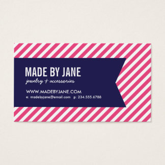 Hot Pink and Navy Modern Stripes Social Media Business Card