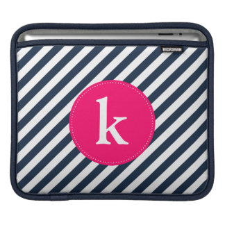 Hot Pink and Navy Monogram Stripes iPad Sleeve