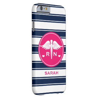 HOT PINK AND NAVY STRIPE CADUCEUS NURSE RN BARELY THERE iPhone 6 CASE