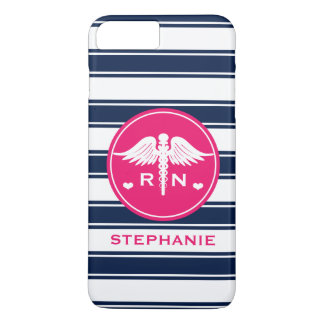 HOT PINK AND NAVY STRIPE CADUCEUS NURSE RN iPhone 8 PLUS/7 PLUS CASE