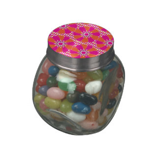 Hot Pink and Orange Bright Flower Pattern Jelly Belly Candy Jars
