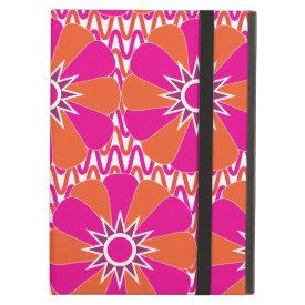 Hot Pink and Orange Bright Flower Pattern iPad Folio Cases