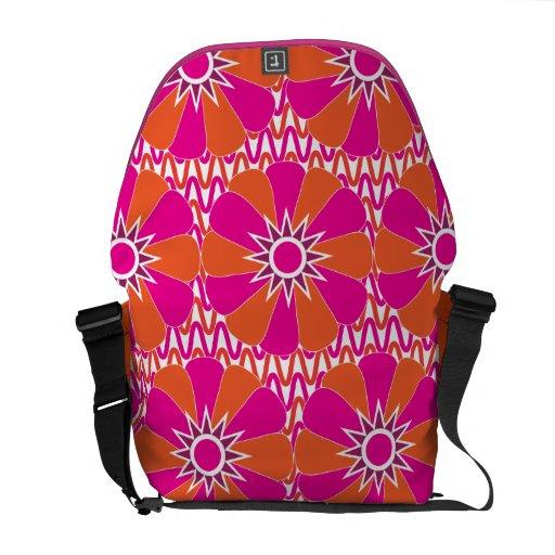 Hot Pink and Orange Bright Flower Pattern Messenger Bag