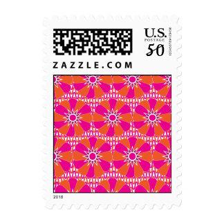 Hot Pink and Orange Bright Flower Pattern Postage