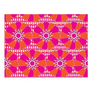 Hot Pink and Orange Bright Flower Pattern Postcard