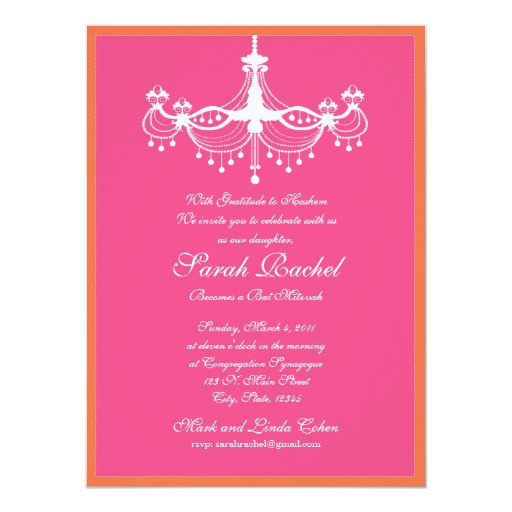 "Hot Pink and Orange Chandelier Invitation 5.5"" X 7.5"" Invitation Card"