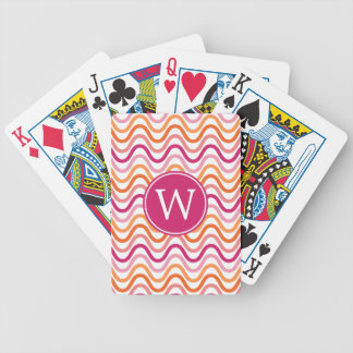 Hot Pink and Orange Chevron Wave Pattern Monogram Bicycle Playing Cards