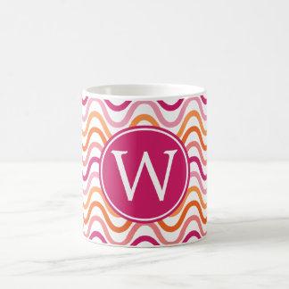 Hot Pink and Orange Chevron Wave Pattern Monogram Coffee Mug