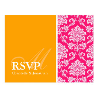 Hot Pink and Orange Damask RSVP Postcard