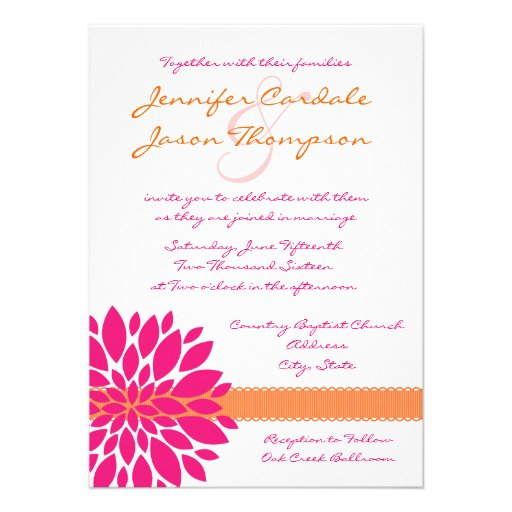 Hot Pink And Orange Flower Wedding Invitations 4 5 X