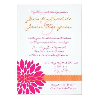 Hot Pink and Orange Flower Wedding Invitations