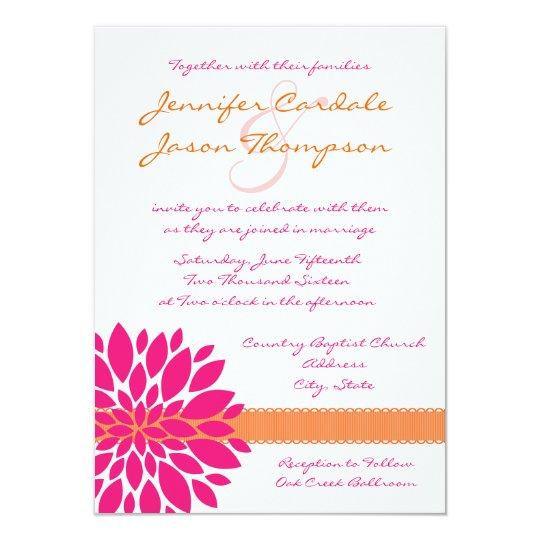 Pink Orange Wedding Invitations: Hot Pink And Orange Flower Wedding Invitations