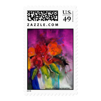 hot pink and orange flowers postage