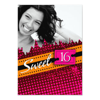 Hot Pink and Orange Funky Sweet 16 Birthday Photo Card