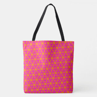 Hot Pink and Orange Islamic Star Mosaic Pattern Tote Bag