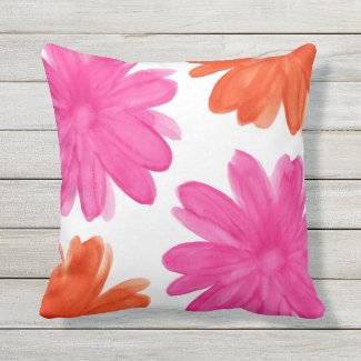 Hot Pink and Orange Watercolor Flowers Throw Pillow