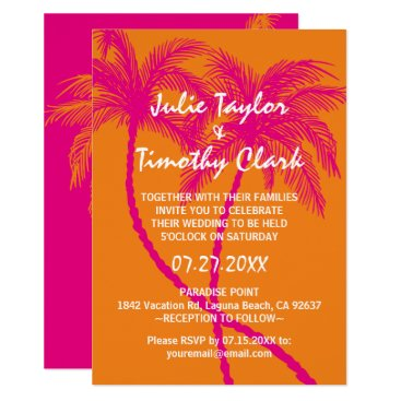 Beach Themed Hot Pink and Orange Wedding Invitations