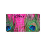 Hot Pink and Peacock Feathers Address Label