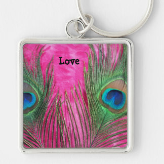 Hot Pink and Peacock Feathers Keychain