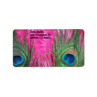 Hot Pink and Peacock Feathers Custom Address Labels