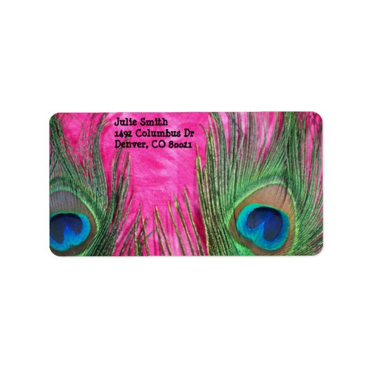 Hot Pink and Peacock Feathers Label