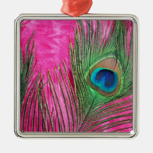 Hot Pink and Peacock Feathers Ornaments