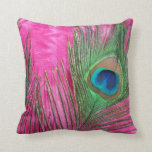 Hot Pink and Peacock Feathers Still Life Pillows