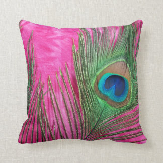 Hot Pink and Peacock Feathers Still Life Throw Pillow
