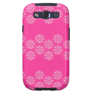 Hot Pink and Pink Floral Stripe Design Galaxy SIII Covers