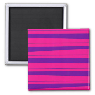 Hot Pink and Purple Bold Striped Pattern 2 Inch Square Magnet