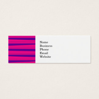Hot Pink and Purple Bold Striped Pattern Mini Business Card