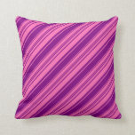 [ Thumbnail: Hot Pink and Purple Colored Striped/Lined Pattern Throw Pillow ]