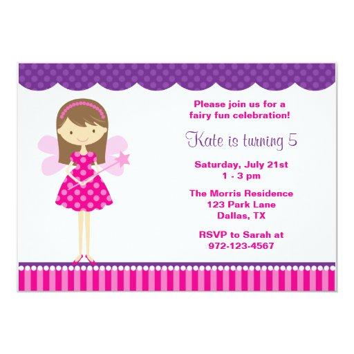 Hot Pink and Purple Fairy Invitation