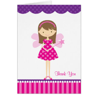Hot Pink and Purple Fairy Note Card Cards
