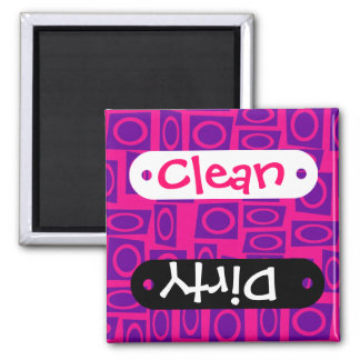 Hot Pink and Purple Fun Circle Square Pattern 2 Inch Square Magnet