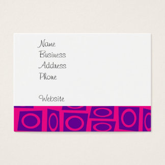 Hot Pink and Purple Fun Circle Square Pattern Business Card