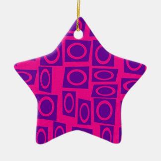 Hot Pink and Purple Fun Circle Square Pattern Ceramic Ornament