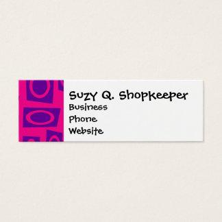 Hot Pink and Purple Fun Circle Square Pattern Mini Business Card