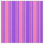 [ Thumbnail: Hot Pink and Purple Pattern of Stripes Fabric ]