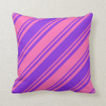 [ Thumbnail: Hot Pink and Purple Pattern of Stripes Pillow ]