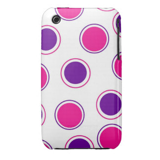 Hot Pink and Purple Polka Dots Concentric Circles iPhone 3 Case