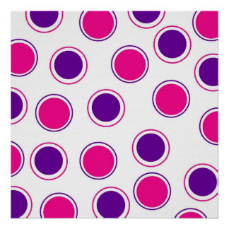 Hot Pink and Purple Polka Dots Concentric Circles Poster