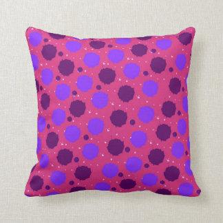 Hot Pink and Purple Splash Dots Throw Pillow