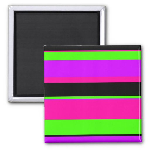 Hot Pink and Purple Tonal Stripes Modern Design 2 Inch Square Magnet