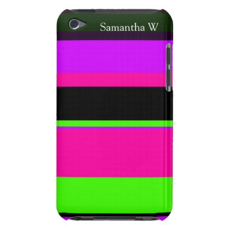 Hot Pink and Purple Tonal Stripes Modern Design Barely There iPod Covers
