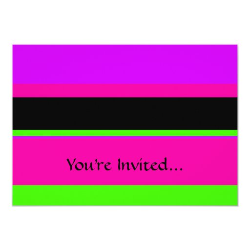 Hot Pink and Purple Tonal Stripes Modern Design Personalized Invites